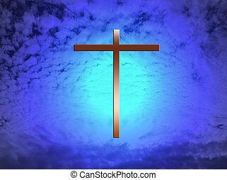 croix, dans nuages
