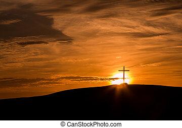 croix, derrière, soleil