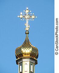 croix, doré, dôme église, orthodoxe