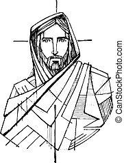 croix, encre, christ, illustration, jésus