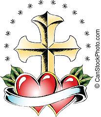 croix, et, coeur, tatouage