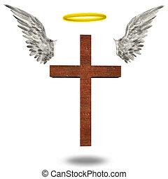 croix, halo, ailes