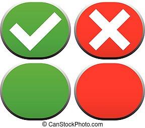 croix, icons., marque, boutons, /, vector., chèque