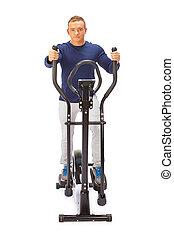 croix, jeune, trainer., usages, elliptique, homme