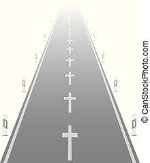 croix, lignes, cassé, route, accidents, autoroute