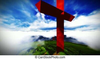 croix, montagne, chrétien