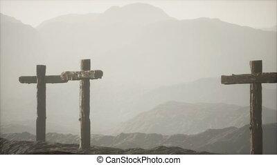croix, montagne, crucifix, bois