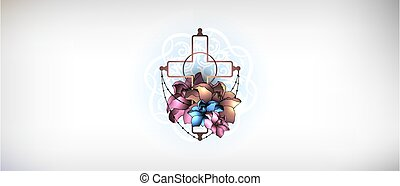 croix, orné, concept., religion, vector., fleurs, chrétien