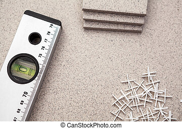 croix, plancher, niveau, plastique, coupure, pose, carreau, carpenter's, morceaux