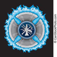 croix, pompier, bleu, flammes