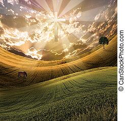 croix, radiates, lumière, dans, ciel