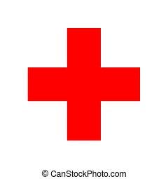 croix, rouges, signe