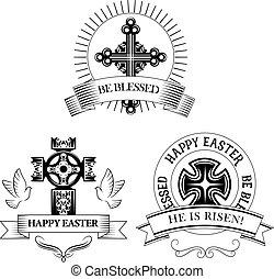 croix, salutation, symboles, paschal, vecteur, paques