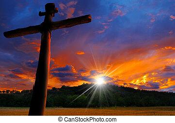 croix, silhouette, à, les, coucher soleil