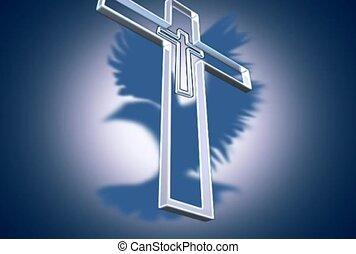 croix, silhouette, oiseau