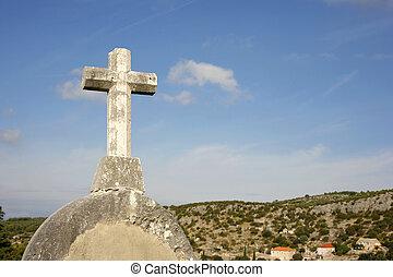croix, sur, ciel bleu