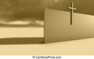 croix, sur, mur