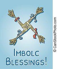 croix, symbole., postcard., païen, vacances, imbolc, ...