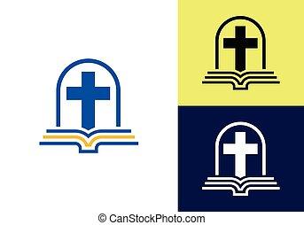 croix, symbols., église, signe, logo., chrétien, jésus