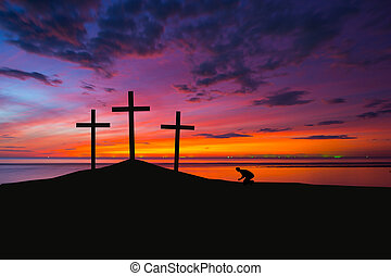 croix, trois, colline