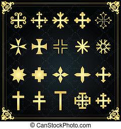 croix, vieux, cimetière, vendange, cimetière, croix