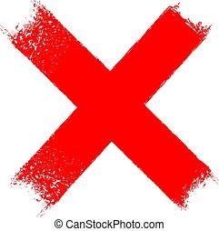 croix, x, grungy, icône, rouges
