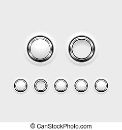 Set of chrome effect buttons showing on/off positions.
