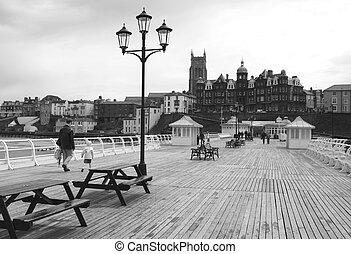 Cromer pier Norfolk, England in black and white