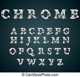 cromo, 3d, alphabet.