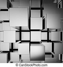 cromo, abstratos, blocos, fundo, 3d