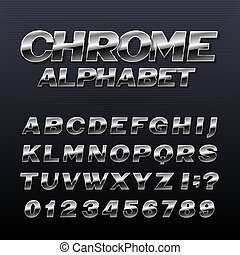 cromo, alfabeto, metal, efeito, letters., símbolos, números, font.