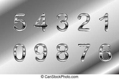 cromo, alumínio, vetorial, números, prata