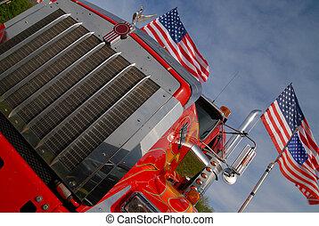 cromo, americano, caminhão, grille
