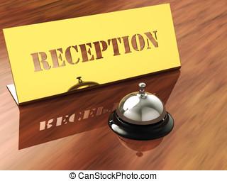 cromo, atienda campana, y, latón, recepción, placa,...