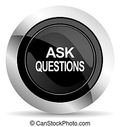 cromo, botão, perguntar, pretas, perguntas, ícone