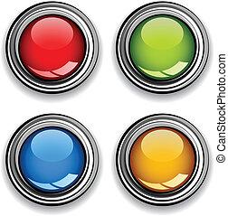 cromo, botones, vector, brillante, blanco