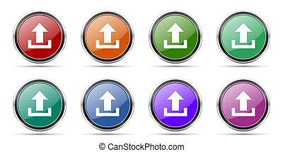 cromo, brillante, blanco, opciones, cargar, metálico, plata,...