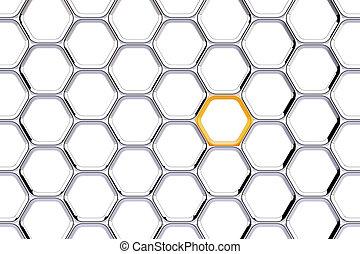 cromo, cadena, con, un, naranja, enlace, blanco, plano de fondo