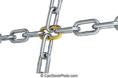cromo, cadena, con, un, oro, enlace, blanco, plano de fondo