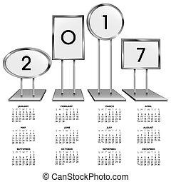cromo, calendário, 2017, suportes, sinal