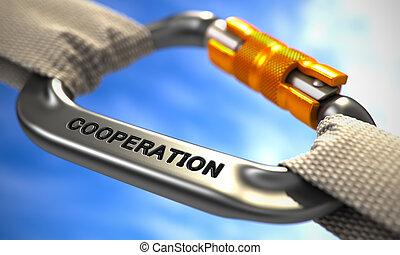 cromo, carabine, gancio, con, testo, cooperation.