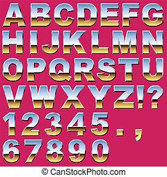 cromo, cartas, y, números