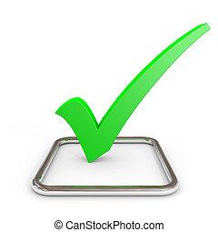 cromo, checkmark, verde, checkbox., 3d