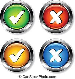 cromo, checkmarks, vector, botones