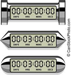 cromo, contatore, -, timer, conto alla rovescia, lcd, vettore