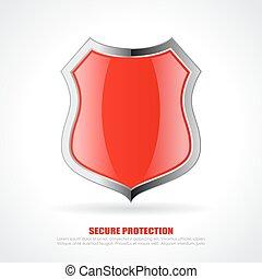 cromo, escudo, vermelho, ícone