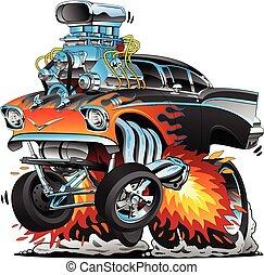 cromo, estilo, clássicas, lotes, gasser, chamas, vara, quentes, ilustração, arrastar, vetorial, fifties, car, grande, motor, músculo, correndo, caricatura, vermelho