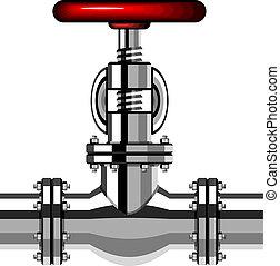 cromo, industrial, válvula, vetorial, vermelho