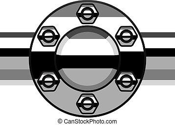 cromo, licenziamento, vettore, flangia, tubo