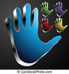 cromo, mão, botão